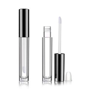 Freeship 50pcs 10ml Lipgloss Tube DIY Lipstick Clear Beauty Packaging Mascara Tubes with Black Caps