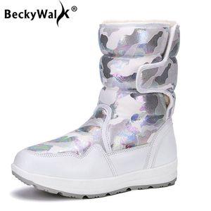 BeckyWalk Winter Boots Женщина Высокой Снег сапоги водонепроницаемого Плюшевые Теплые ботинки женщина Марк Камуфляж Середина теленок Botas feminina WSH3096
