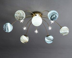 G9 Artpad Nordic Led Lampadari Illuminazione Pianeta paralume di vetro creativo Chandelier Soggiorno cucina Ferro lampada di vetro