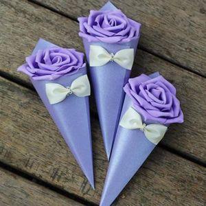 Cono di carta Rose Bowknot Diamond Forma Flowers Flowers Vary Color Casies Boxes Tavolo da sposa Decor Decor Party Regar Box