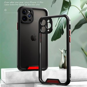 Armor Transparent Shockproof Bumper Phone Case For iPhone SE 11 Pro Max X XR XS Max 7 8 Plus Camera Protection Acrylic+TPU Cover