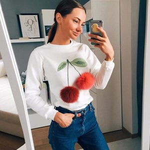 Casual o-neck long sleeved feather loose shirts 2021 Fall fashion women's new 3D print T shirt White red black tops