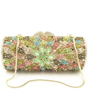Multi color Flower Women Mini Crystal Evening Bag Metal Hardcase Wedding Party Clutch Handbag Purse for women gifts