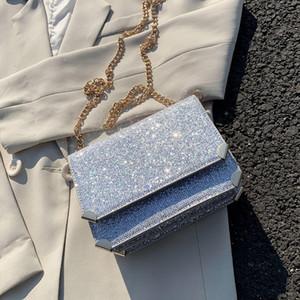luxury sequins sqaure women shoulder bags designer chains crossbody messenger bag shiny silver gold evening clutch small purses C1016
