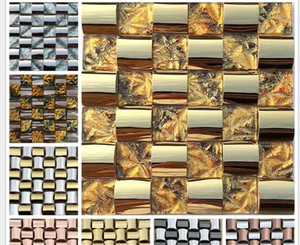 2021 hot sale Supply stainless steel arch mosaics tuhao gold mosaic tile TV background wall living room bar