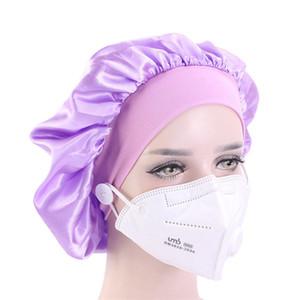 Seda nocturna gorra sombrero de colgar máscara mujer cubierta cabeza tapa sombrero capó satinado para el cabello hermoso limpieza para el hogar suministros de cabello CPA3306
