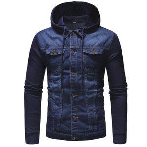 Mens Herbst-Winter-mit Kapuze Vintage Distressed Demin Jacke Tops Mantel Outwear neue Art und Weise Einreiher Männer Mäntel