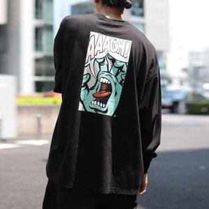 T-shirt Men street skateboard Ghost hand printing Pure cotton Long sleeve T shirt fashion Round neck All-match Sweatshirt new style wholesal