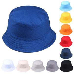 #H30 Korean Women Men Cap Summer Foldable Bucket Hat Solid Color Hip Hop Wide Brim Beach UV Protection Sunscreen Fisherman Cap