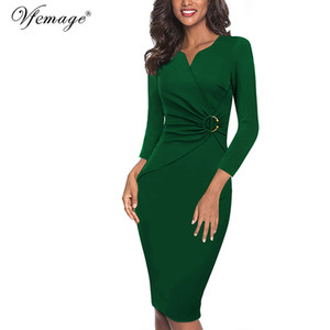 Vfemage Women Autumn Winter Elegant Ruched Embellished Waist Work Office Business Cocktail Party Bodycon Pencil Sheath Dress 007 A1105