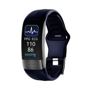 P11 Plus Braccialetto intelligente Sport Smart Watch Smartwatch ECG Bluetooth Wristband Cetropolitana Cardiofrequenzimetro Chiama messaggio Promemoria Smart Band LJ201211