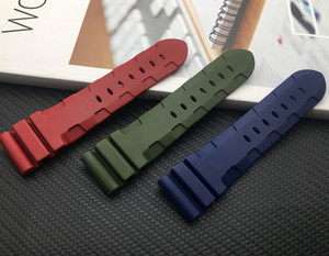wholesale Black Blue Red Green watch band Silicone Rubber Watchband fit for Panerai Strap pin buckle 24mm 26mm