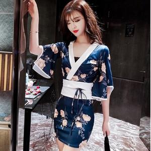 Japanese Style Traditional Dress Cosplay Costume Yukata Kimono Bathrobes Women Sexy Party Club Bodycon Print Sleepwear Pajamas