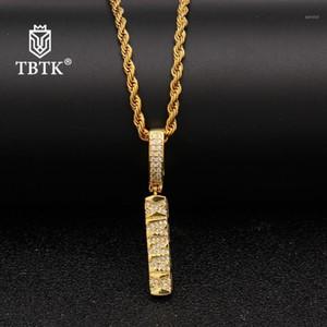 TBTK Western Hiphop Estilo de cobre hermoso collar colgante chispeante zircon subcultuco colgante de cuerda de oro Cadena de la cadena Collar1