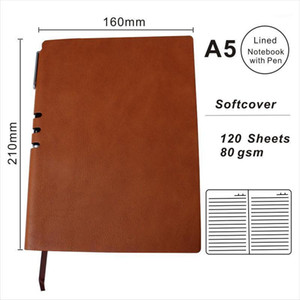 A5 PU Leather Lined Notebook With Pen Paper Notepad Custom Logo Daily Agenda Journals Personal Planner OEM Welcome1