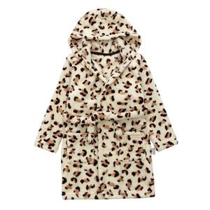 Sonbahar Kış Flanel Robe Bornoz Çocuk Karikatür Baykuş Leopar Pijama Kapşonlu Kalınlaşma Bebek Erkek Kız Banyo Robe Ev Pijama Y200704