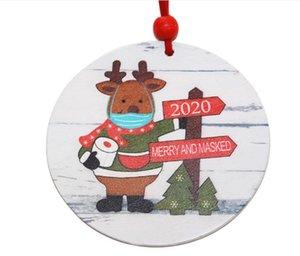 2021 hot sale Popular Christmas log piece Christmas Tree Pendant mask old man mask Snowman pendant Christmas Ornament Decorations 007