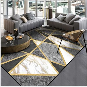 AOVOLL Fashion Modern Black And White Gray Marble Gold Line Cross Door Mat Carpet Bedroom Rug Living Room Kitchen Mats