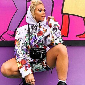 womens Hoodies Women Fashion Skull Print Hoodie Oversize Loose Tops Blouse Sweatshirt Drop Shipping Good Quality