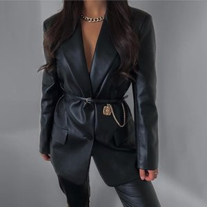 yuqung donne pu faux cuoio dentellato cappotto Blazer Autunno Inverno Femminile all'inizio Office signore monopetto Outwear Jacket 2020
