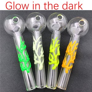 new arrivar Glow in the dark Glass Oil burner pipe 4Inch dia 30mm ball Oil Burner octopus shape Glass Pipess for smoking water pipes