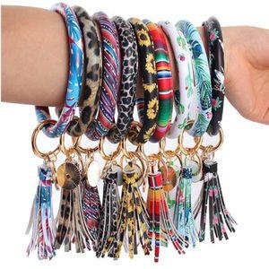 46styles Leather Bracelet Key Chain PU Wristr Round Key Ring Tassel Pendant Leopard Bufflao Wristband Keychain Bracelets Key Rings u5526