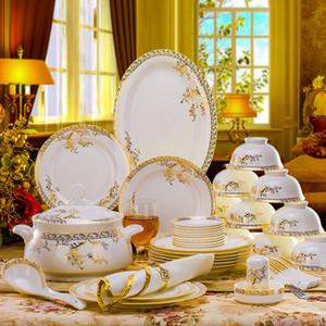 56 pcs Conjunto de louças de cerâmica Osso China Pratos de mesa de mesa de mesa de cerâmica Combinação de cerâmica Serviço de jantar Conjunto de jantar Set Porcelaana C1108