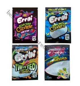 Şeker Paketleme Çantası Gummi Solucan Errlli 600mg Sakızlı Çantalar Ekşi BRITE TRAWLERS Ekşi TERP Tarayıcılar Çok Berry Mylar Çanta Yemekleri Paketleme JD2021