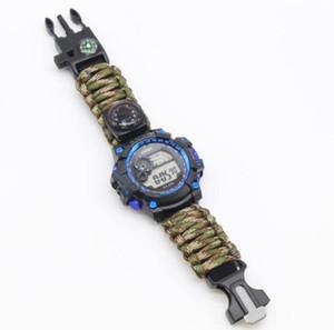 EDC Multi Tools Taktische Armbänder Camouflage Außenlager Wanderung Survival Watch Armband Kompassmesser Rettungsseil Paracord Campinggeräte