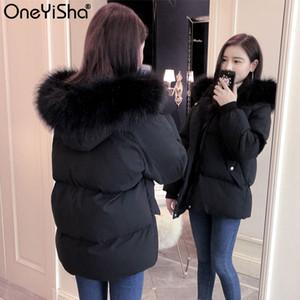OneYisha Bayanlar Aşağı Ceket Fox Kürk Yaka kadın Kış Ceket Kadın Gevşek Beyaz Ördek Aşağı Ceket Kalın Sıcak Aşağı Ceket 201104