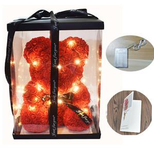 دروبشيبينغ 40CM الصابون رغوة روز الدب مع الصمام الخفيفة بطاقة هدية مجانية في مربع هدية لعيد الحب يوم وGirldfriend 1022