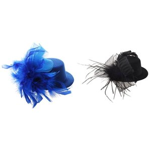 Clipe 1pcs Veil Foil Hat Mini Top Hat cabelo 1pcs Cabelo Primavera Clipe Azul