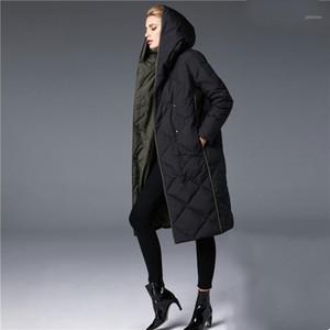 2018 Winter Women's Down Jacket Female Long Coat Ladies Fashion Patchwork Lozenge Hooded Clothes1