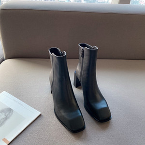 Fashion Trend Women's High-heeled Boots Thick-heeled Square-rooted Cows and Sheepskin Comfortable Footwear Simple and Versatile Boots G510