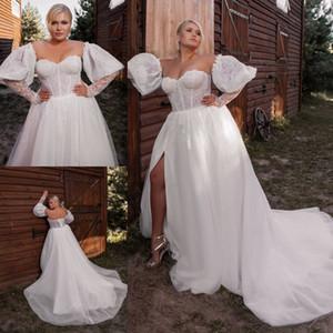 Art und Weise plus Größe Spitze Brautkleider mit abnehmbaren Ärmeln Schatz-Ansatz A-Linie Brautkleider Sweep Zug Side Split robe de mariée