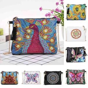 Mulheres Moda DIY diamante bordado Bandoleira Sacos de couro Bolsa de Ombro Cadeia étnico Unique Style Wallet saco de armazenamento