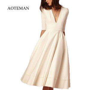 Aoteman Jahrgang Herbst Sommer-Kleid-Frauen neue beiläufige plus Größe elegantes Ballkleid-Kleid weibliche sexy V-Ausschnitt-Partei-Kleider 3xl 201022