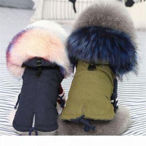 GLORIOUS KEK Зимняя Одежда для собак Роскошные искусственного меха воротник пальто собаки для малых собак Теплый ветрозащитный Pet Parka руно Подкладка Puppy куртка T191116