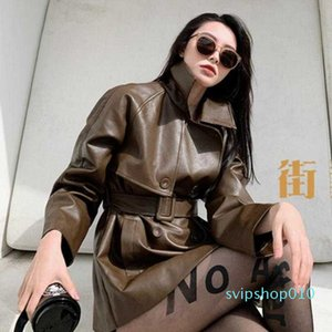 Thick Double-breasted Mid-length PU Leather Jacket Women Autumn Loose PU Leather Jacket N