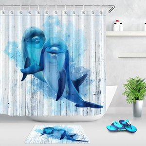 Cute Dolphin Waterproof Fabric Bathroom Shower Curtain Vintage Wooden Board Marine Life Animal Home Decor Bathtub Bath Curtains