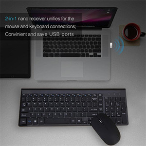 English letter slim 2.4G Wireless Keyboard Mouse Combo for ,LAPTOP,TV BOX Computer PC ,Smart TV with USB dongle Black New