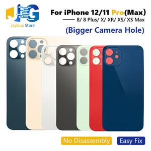 OEM gran agujero de cristal trasera para el iPhone 8G 8 Plus X XR XS 11 12 Pro máximo de la batería Tapa de carcasa con la etiqueta engomada