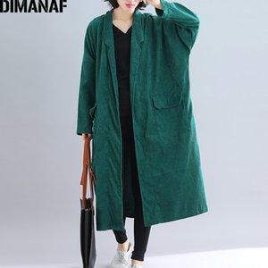 DIMANAF Women Jackets Plus Size Long Coat Corduroy Autumn Winter Big Size Cardigan Female Clothes Loose Oversized Outerwear 201015