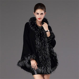 SWONCO ponchos and capes faux fur coat cape women winter cloak for women poncho jacket cape with hooded fur cape poncho 201210