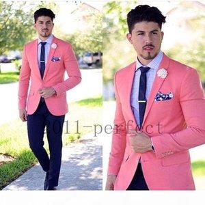 Wholesale- Coral Jacket Navy Blue Pants and Tie Custom Made Groomsmen Groom Tuxedos Notch Lapel Men Suits Wedding Best Man Blazer Z201