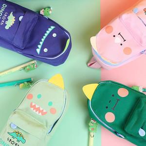 El dinosaurio lindo del gato del bolso de escuela grande Forma Capcity lápiz bolsa de Corea del lápiz bolsa de Kawaii Escuela Estacionario Organizador