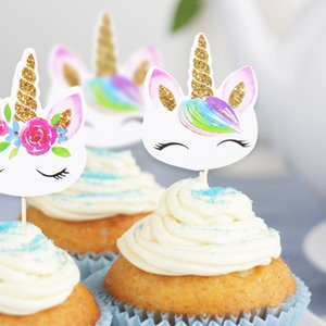 Unicorn Party Cake Insert Bachelorette Party Wedding Decoration Happy Birthday Baby Shower Supplies DIY Cake Flag for Home Decor C0927