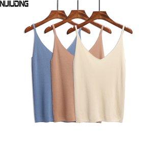 Nijiuding Summer Women Débardeurs Débardeurs Casual Brillant Silk Camis Tricots Sans Manches Gilet Sexy Deep V-Col Parti solide Camisole Femme Y200512