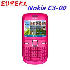 de color rosa teléfono móvil versión Symbian de Nokia C3-00 Bluetooth FM JAVA 2MP pequeño tamaño desbloqueado reformado barra de WIFI 2MP azul de oro