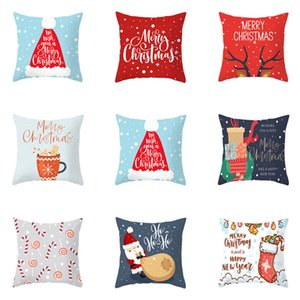 Christmas Cushion cover 45*45 Pillowcase sofa Cushions Pillow cases Cotton Linen pillow covers Xmas Santa Claus Decor for home300pcs T1I2626
